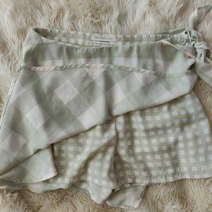 UO Rylan Gingham Wrap Skort Shorts